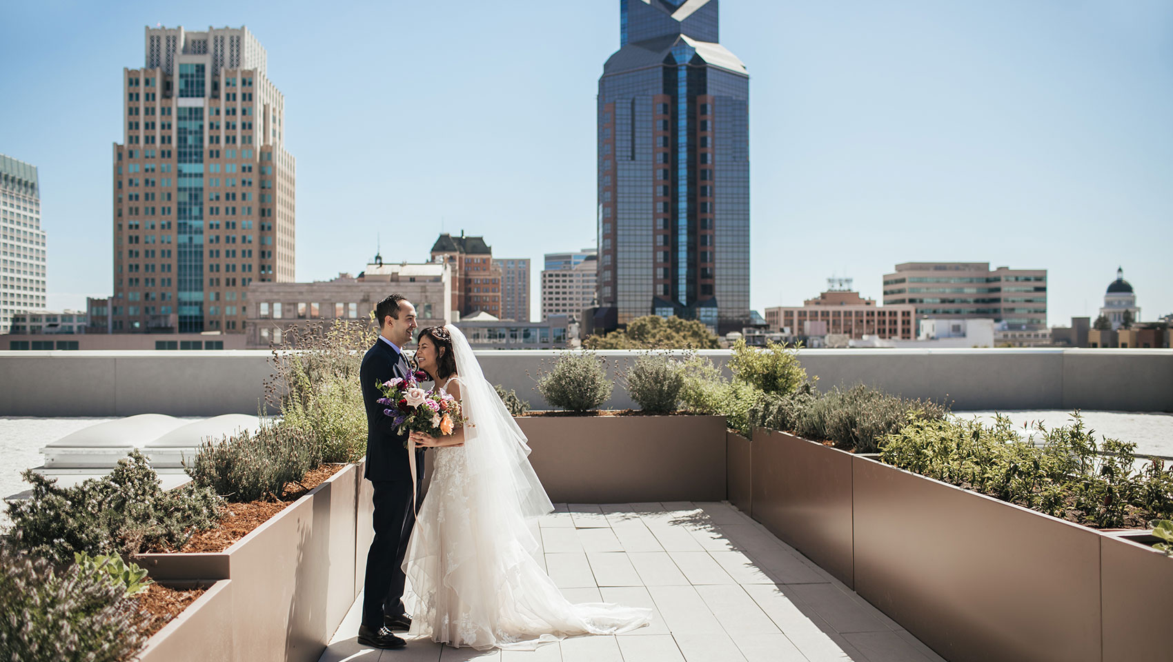 Bride & Groom on the Rooftop