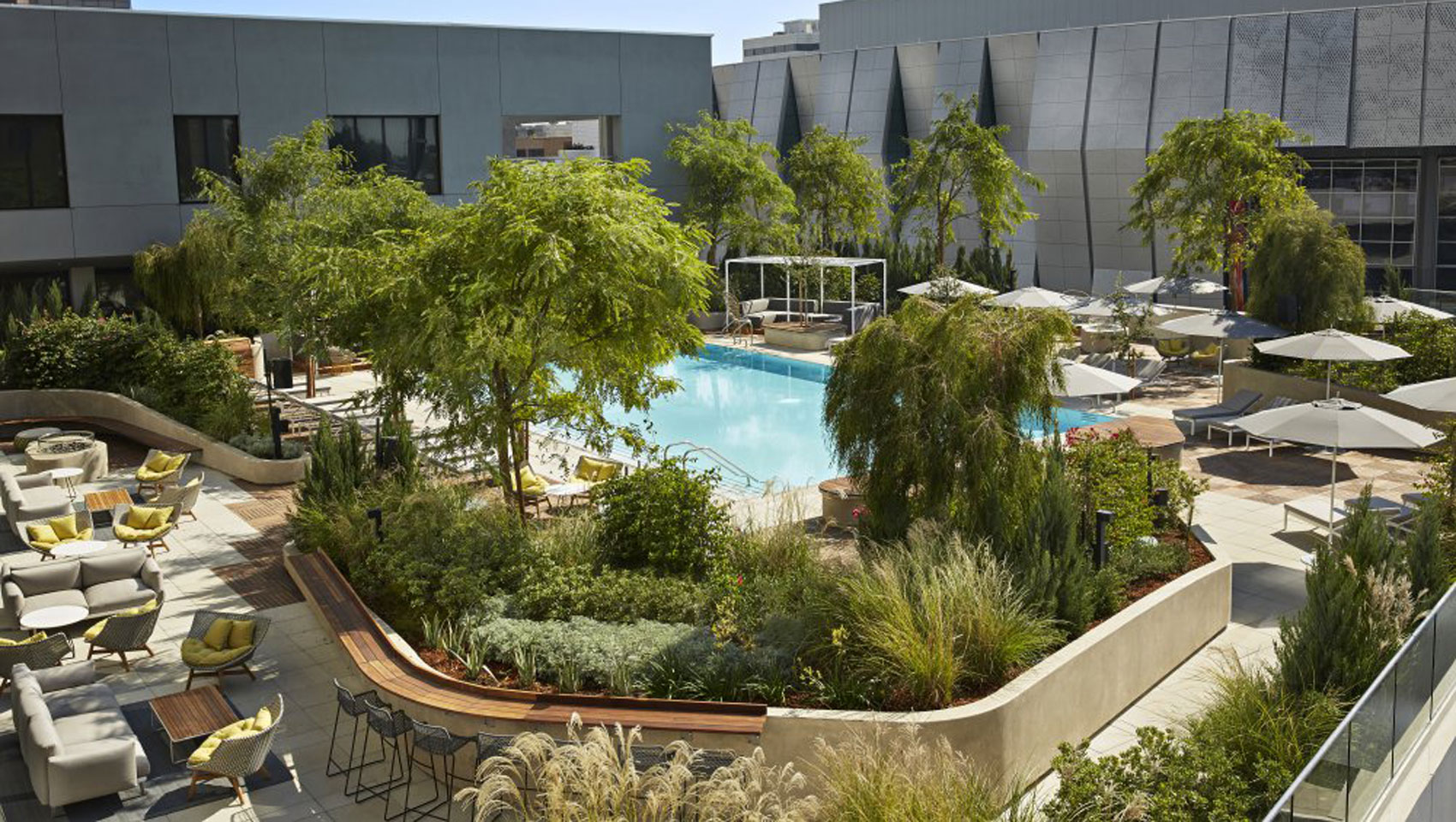 Pool terrace and lounge at Kimpton Sawyer Hotel